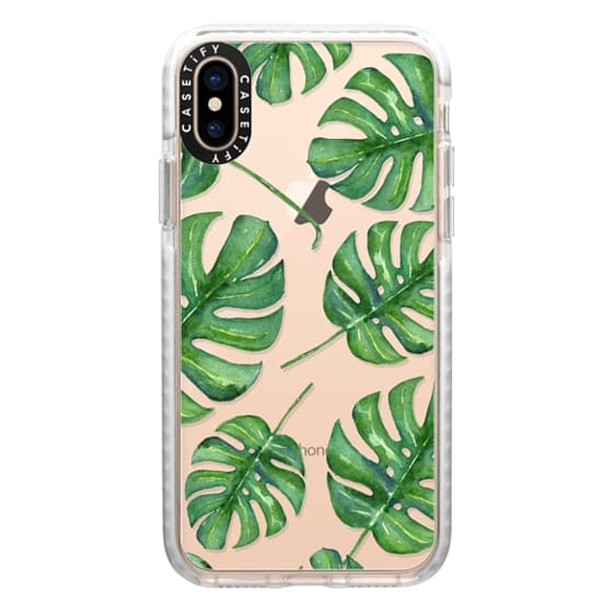iPhone XS Cases - Tropical Palm Leaves Pattern // Watercolor Transparent