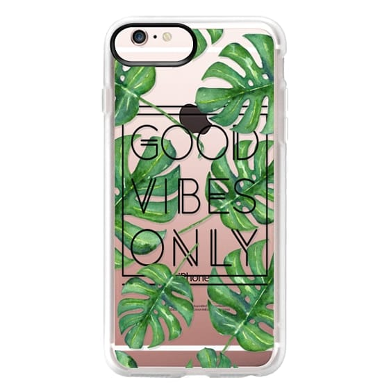 iPhone 6s Plus Cases - Good Vibes Only Tropical Leaves // Palm Leaves Transparent Typography