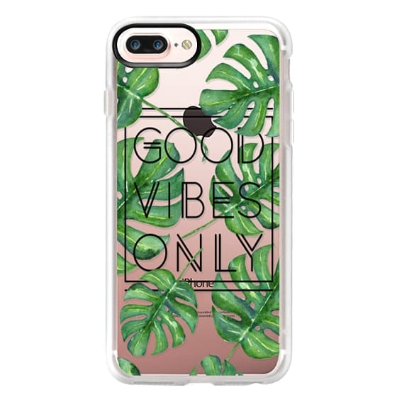 iPhone 7 Plus Cases - Good Vibes Only Tropical Leaves // Palm Leaves Transparent Typography