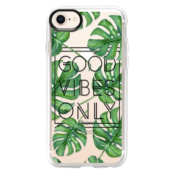 iPhone 8 Cases - Good Vibes Only Tropical Leaves // Palm Leaves Transparent Typography