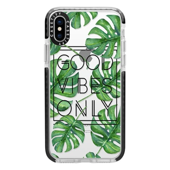 iPhone X Cases - Good Vibes Only Tropical Leaves // Palm Leaves Transparent Typography