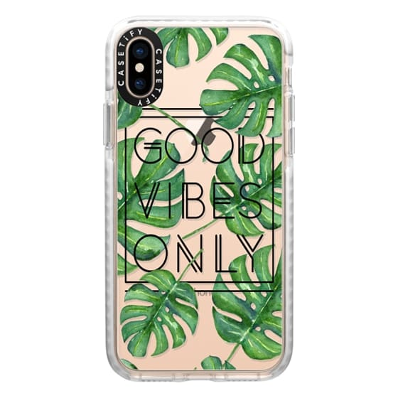 iPhone XS Cases - Good Vibes Only Tropical Leaves // Palm Leaves Transparent Typography