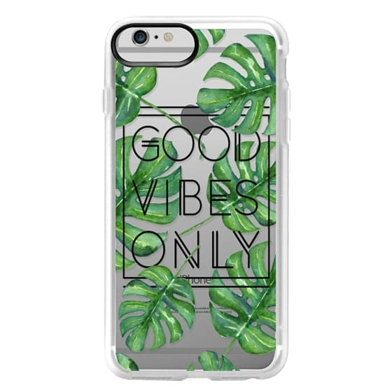 iPhone 6 Plus Cases - Good Vibes Only Tropical Leaves // Palm Leaves Transparent Typography
