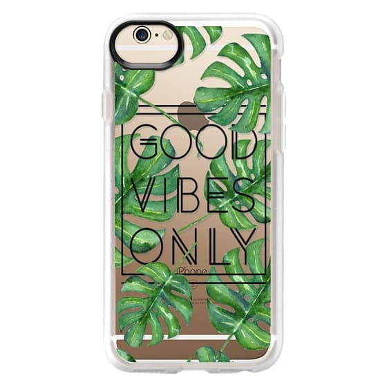 iPhone 6 Cases - Good Vibes Only Tropical Leaves // Palm Leaves Transparent Typography