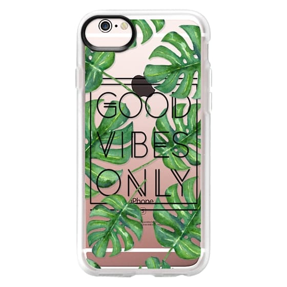 iPhone 6s Cases - Good Vibes Only Tropical Leaves // Palm Leaves Transparent Typography