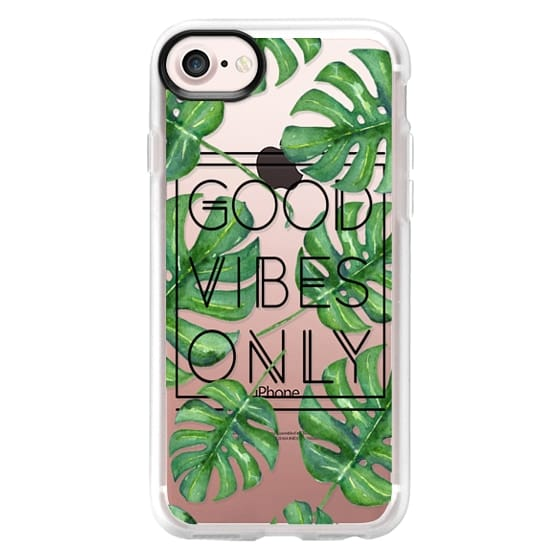 iPhone 7 Cases - Good Vibes Only Tropical Leaves // Palm Leaves Transparent Typography