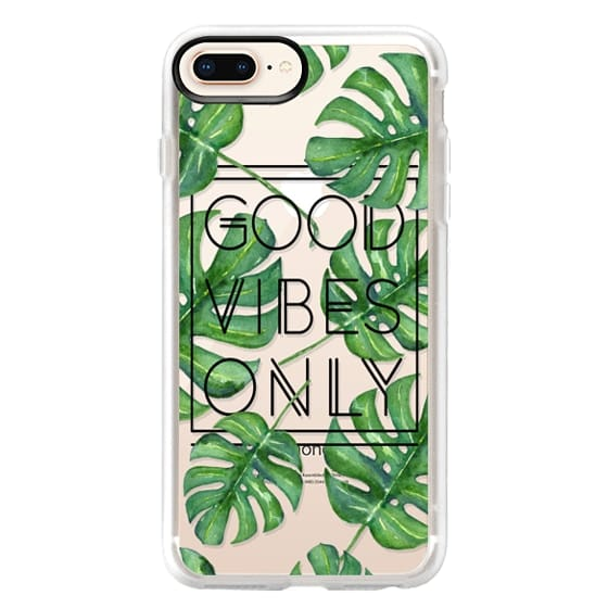 iPhone 8 Plus Cases - Good Vibes Only Tropical Leaves // Palm Leaves Transparent Typography