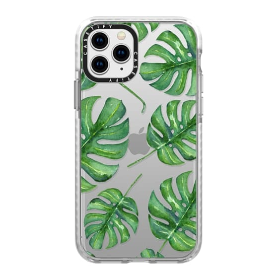 iPhone 11 Pro Cases - Tropical Palm Leaves Pattern // Watercolor Transparent