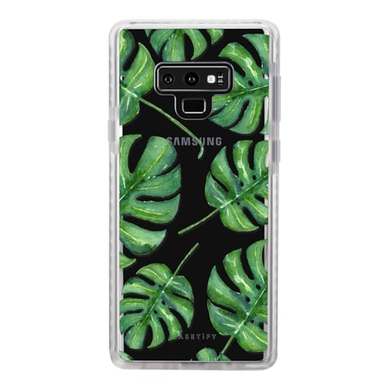 Samsung Galaxy Note 9 Cases - Tropical Palm Leaves Pattern // Watercolor Transparent