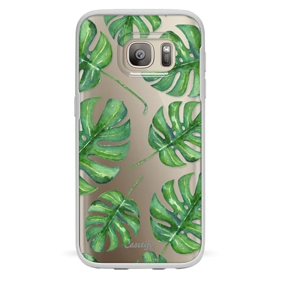 Samsung Galaxy S7 Cases - Tropical Palm Leaves Pattern // Watercolor Transparent