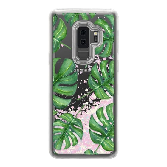 Samsung Galaxy S9 Plus Cases - Tropical Palm Leaves Pattern // Watercolor Transparent