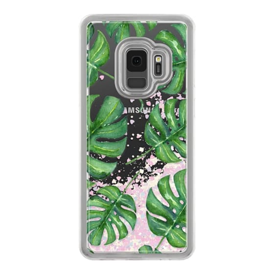 Samsung Galaxy S9 Cases - Tropical Palm Leaves Pattern // Watercolor Transparent