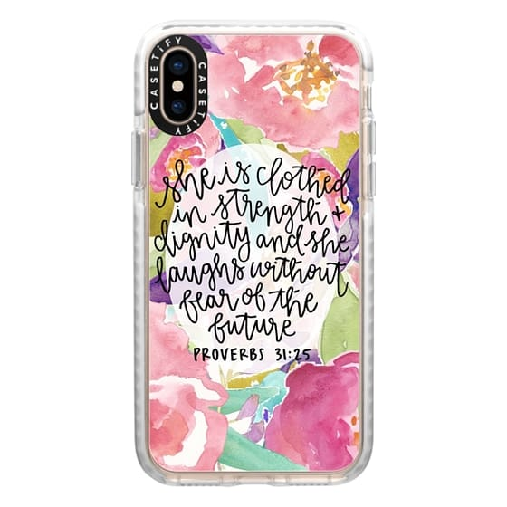 iPhone XS Cases - Proverbs 31:25 // Floral Calligraphy