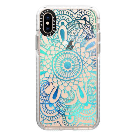 iPhone XS Cases - Mandala Aqua + Teal Transparent