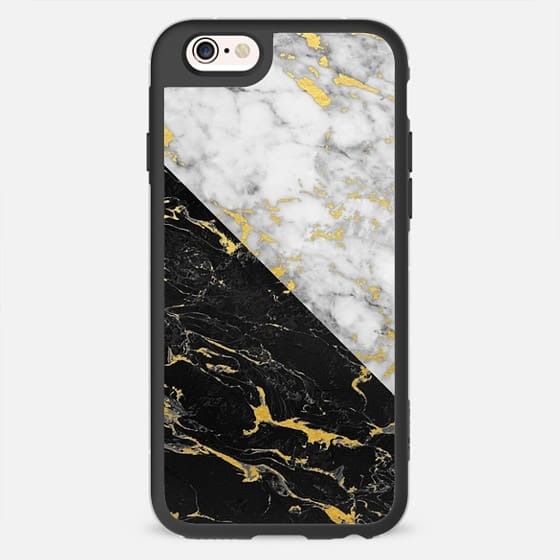 Mixed Marble / Gold Flecked White & Black Marble - New Standard Case