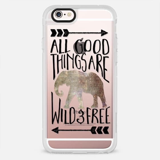 All Good Things Are Wild and Free / Elephant // Transparent - New Standard Case