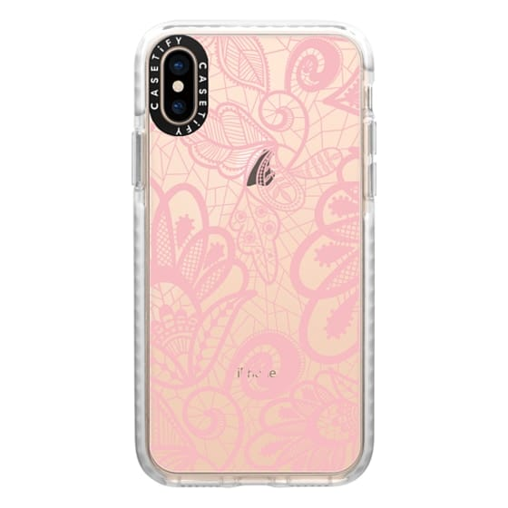 iPhone XS Cases - Flower Pink Lace