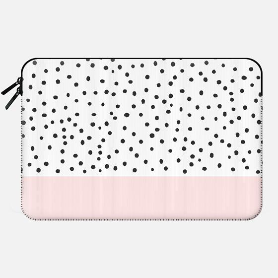 Pastel pink black watercolor polka dots pattern - Macbook Sleeve