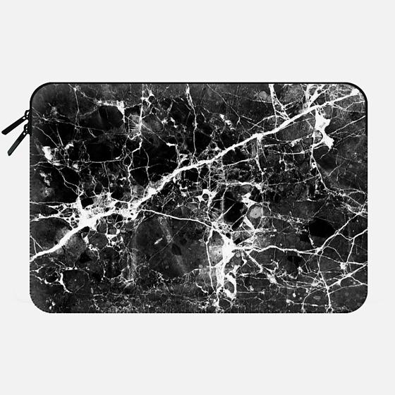 Black white modern chic marble texture patterns - Macbook Sleeve