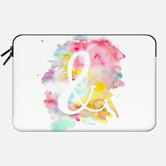 Modern bright watercolor white ampersand symbol - Macbook Sleeve