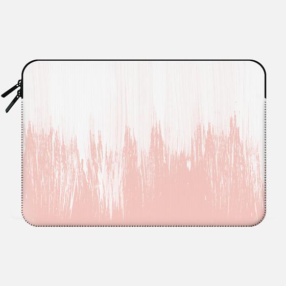 Girly modern pink watercolor paint brushstrokes - Macbook Sleeve