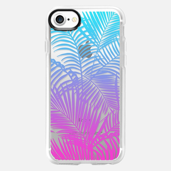 Modern pink teal tropical palm trees pattern - Classic Grip Case