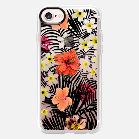 Colorful tropical black white pink flowers palm trees pattern - Wallet Case