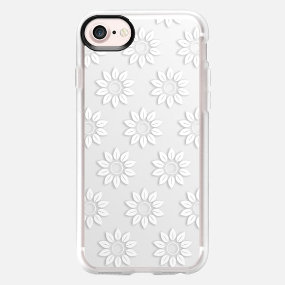 Elegant cute white abstract floral pattern - Wallet Case