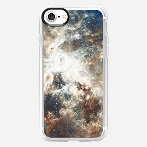 Abstract brown blue outer space galaxy nebula -
