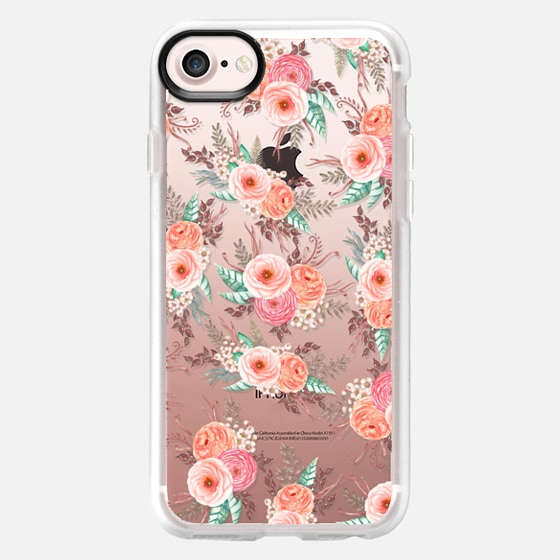 Elegant chic pink coral watercolor roses flowers pattern - Wallet Case