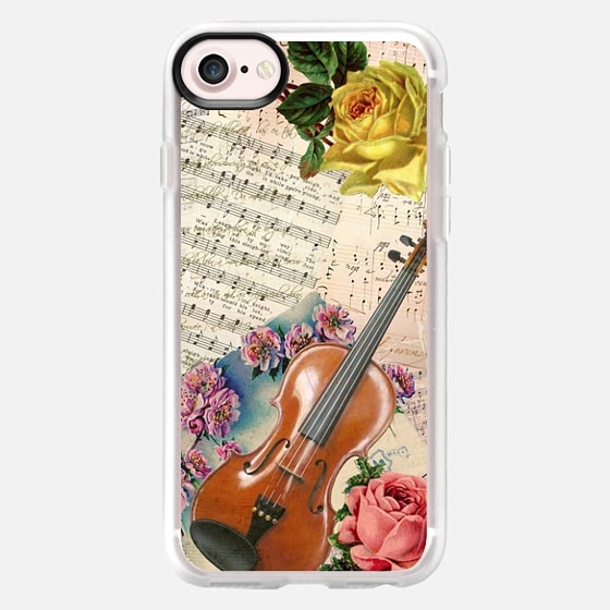 Vintage yellow pink roses classical music sheet victorian violin  -
