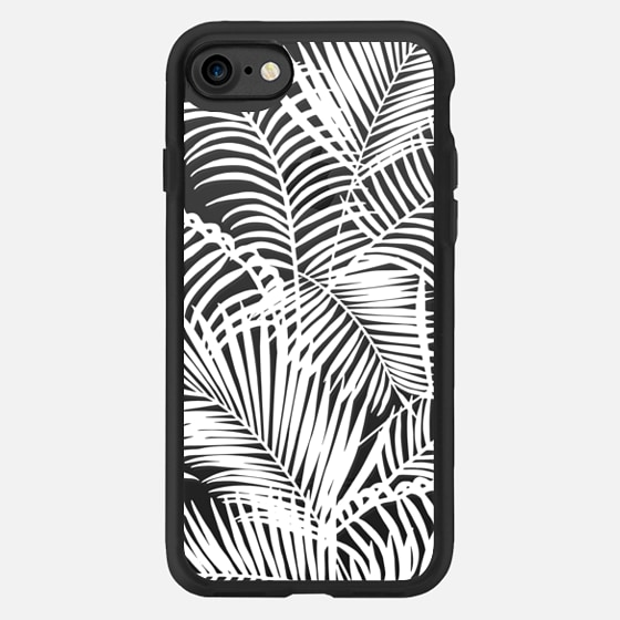 Tropical modern white hand painted palm tree plant -