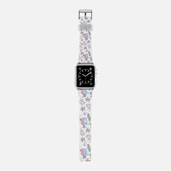 Pink blue watercolor panda bird floral pattern -