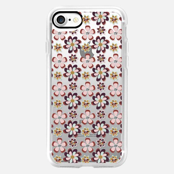 vintage pink teal gray boho floral pattern -