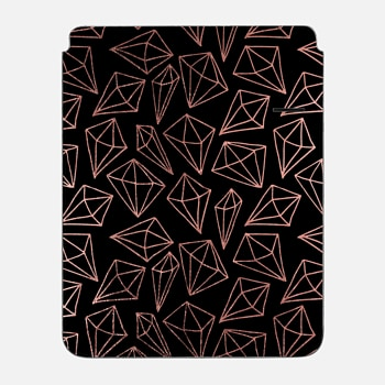 "iPad Pro 12.9"" Sleeve Elegant black faux rose gold abstract diamond pattern"
