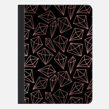 "iPad Pro 9.7"" ケース Elegant black faux rose gold abstract diamond pattern"