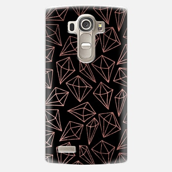 LG G4 Case Elegant black faux rose gold abstract diamond pattern