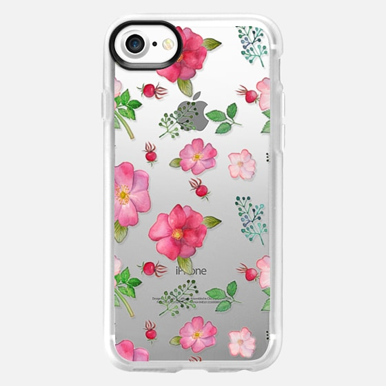 Botanical pink country roses hip floral pattern -