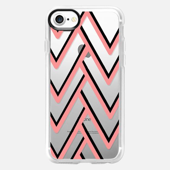 Modern pink black geometrical zigzag chevron - Classic Grip Case