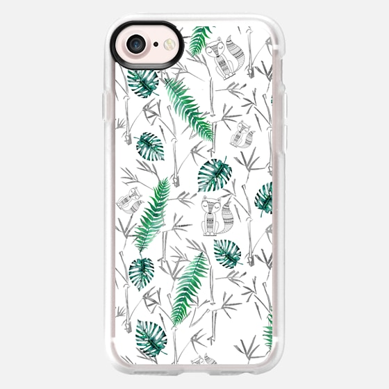 Gray bohemian animal green tropical bamboo leaves - Classic Grip Case
