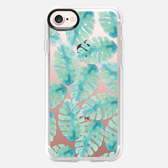 Modern hand painted green watercolor tropical leaves - Classic Grip Case