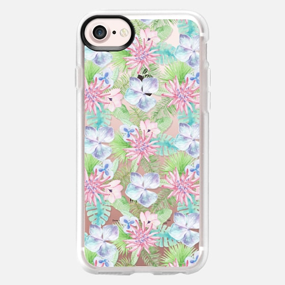 Modern rose pink lavender green tropical floral - Classic Grip Case