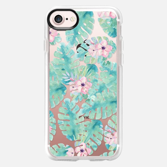 Modern tropical blush pink green watercolor floral - Classic Grip Case