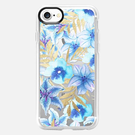 Elegant faux gold tropical leaves blue watercolor floral - Classic Grip Case