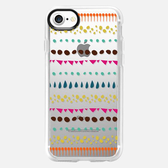 Modern colorful pink orange polka dots stripes - Classic Grip Case