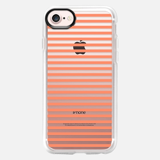Trendy coral white pastel color modern stripes - Classic Grip Case