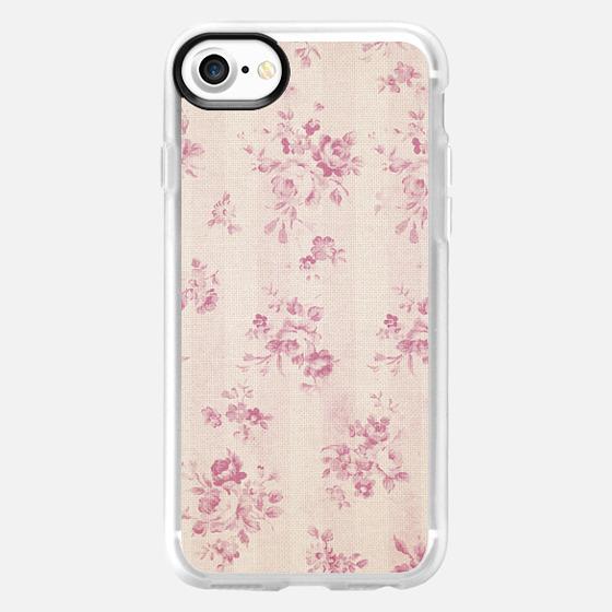 Elegant blush pink white rustic floral vintage stripes - Classic Grip Case
