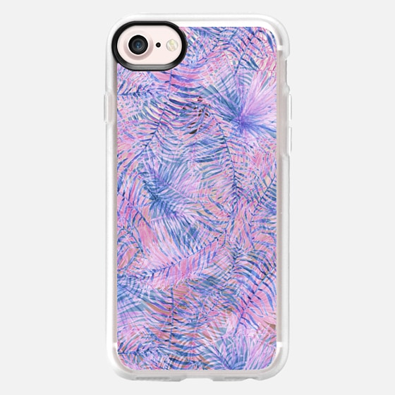 Modern blue blush pink watercolor hand painted floral - Classic Grip Case