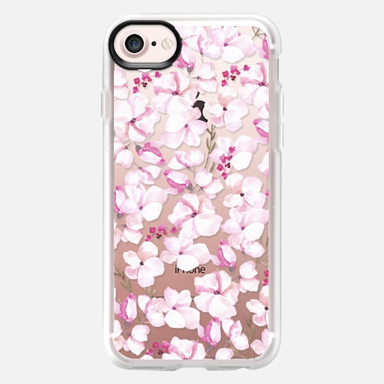 Blush pink white watercolor elegant modern floral - Classic Grip Case