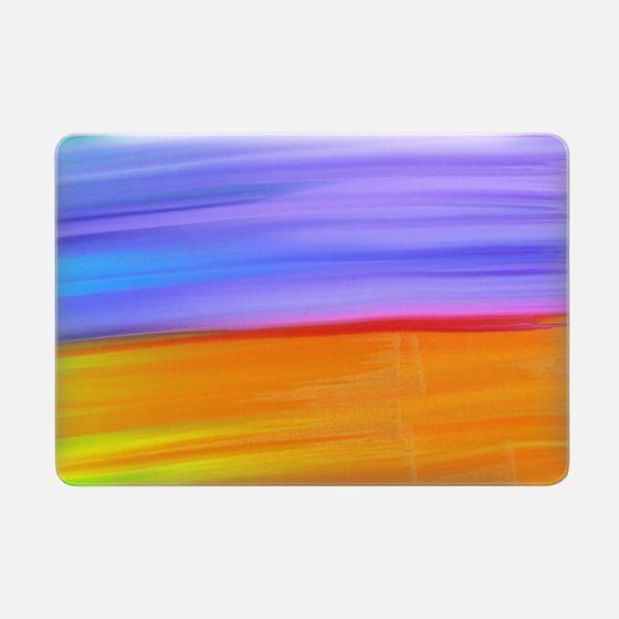 Modern orange purple watercolor brushstrokes pattern -